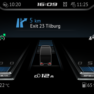 The 12 inch central driver display can be personalized. This is the Modern variant.